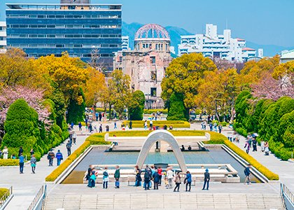 Hiroshima peace memorial park i Japan