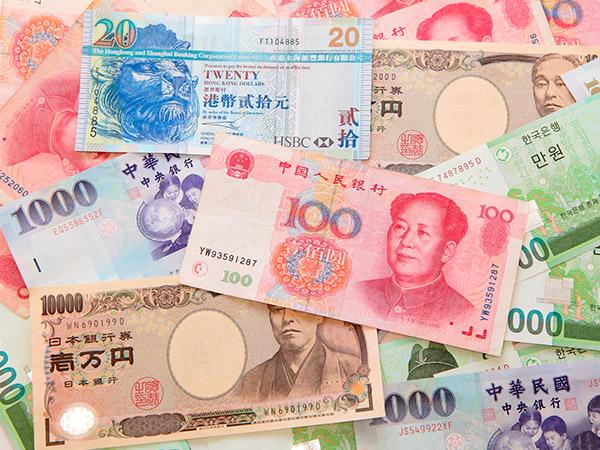 Pengesedler i Asien