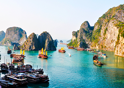 Cruise i Ha Long Bay i Vietnam